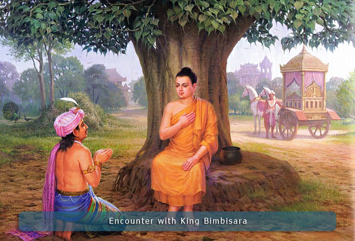 King Bimbisara with Lord Buddha