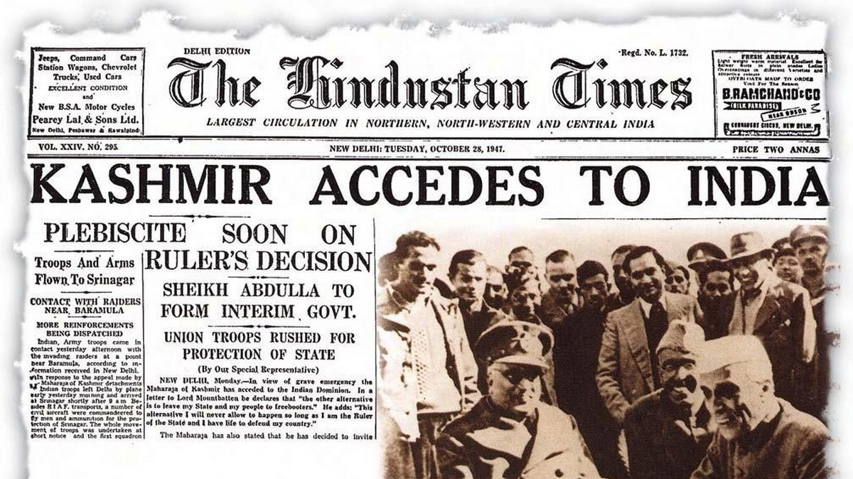Newspaper Clipping about Kashmir's accession