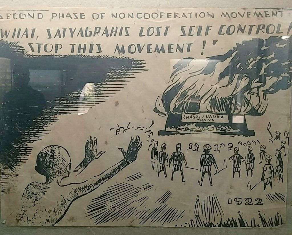 Picture depicting Mahatma Gandhi suspending Non-Cooperation movement after Chauri Chaura