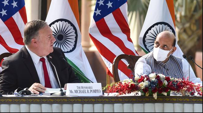 Defence Minister Rajnath Singh and U.S. Secretary of State Mike Pompeo during a press briefing at Hyderabad House in New Delhi on October 27, 2020.