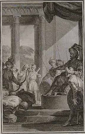 French illustration of a soldier of the British Army requesting pardon from the Islamic Mughal Emperor Aurangzeb.