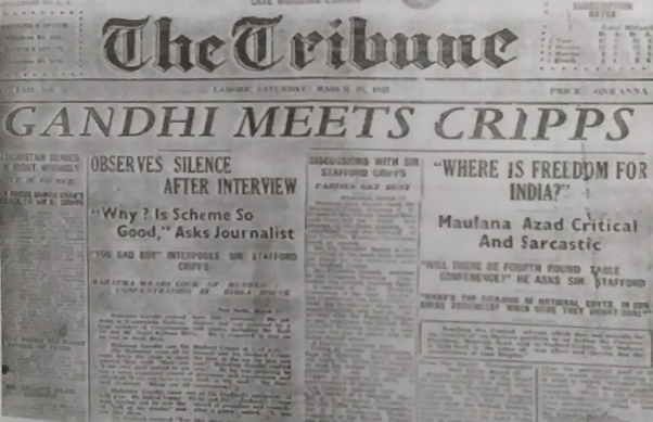Newspaper stating about meeting of Cripps and Mahtama Gandhi