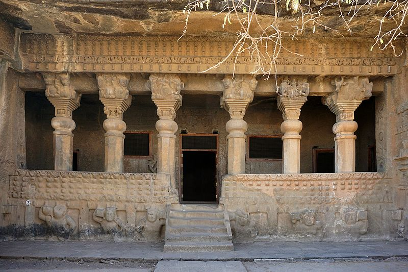 Satavahana architecture at Cave No.3 of the Pandavleni Caves in Nashik.