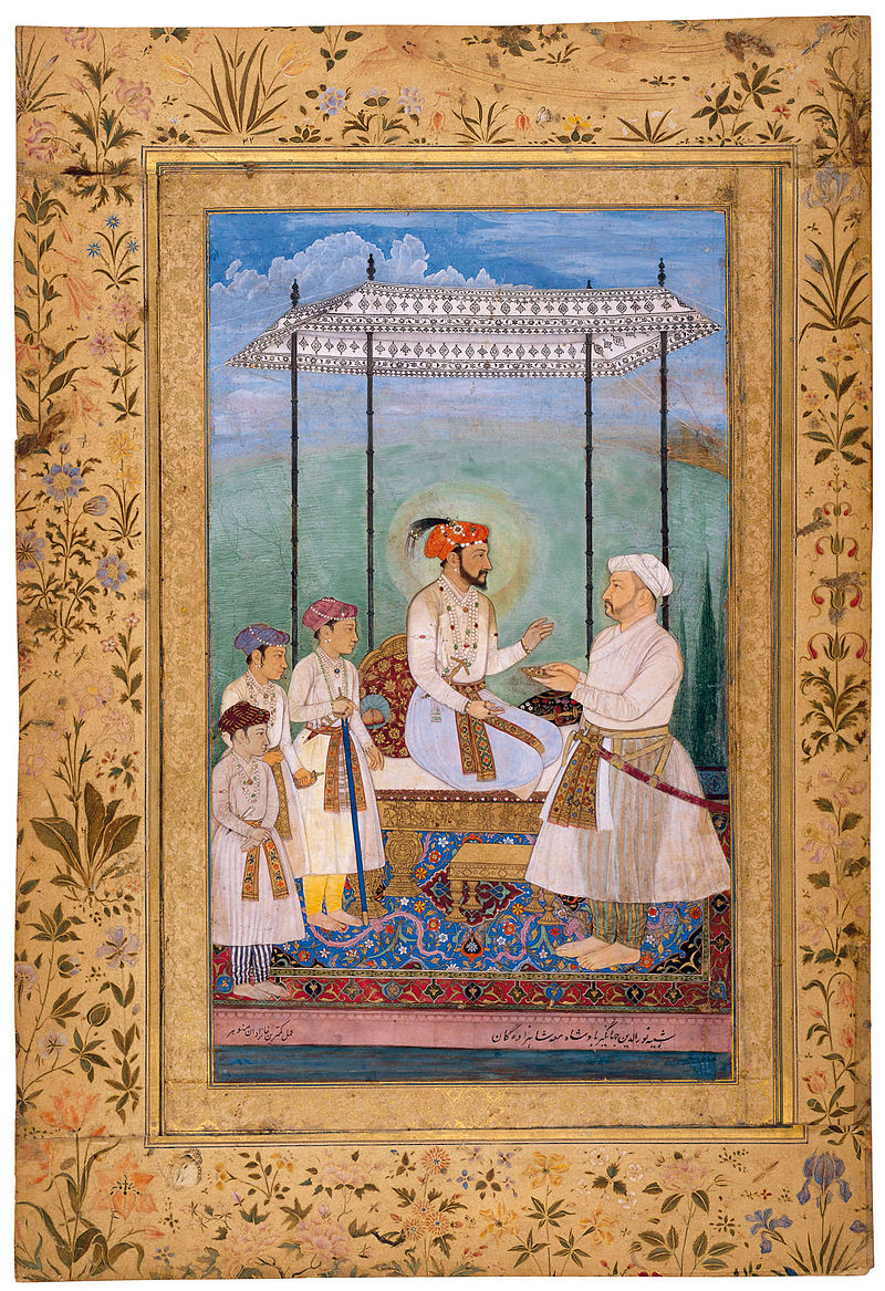 Shah Jahan with his three sons, Dara Sikoh, Shah Shuja, and Aurangzeb accompanied by theie maternal grandfather Asaf Khan IV