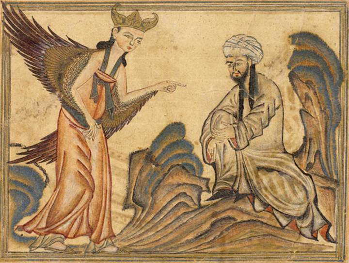 Muhammad receiving his first revelation from the angel Gabriel.