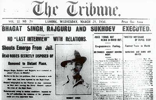 Newspaper Clipping about news of Bhagat singh's execution